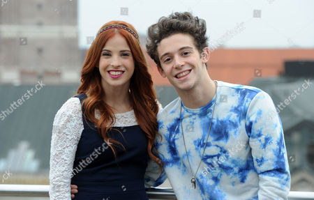 (l-r) Argentine Actors Candelaria Molfese (camila) and Facundo Gambande (maxi) Pose During a Press Event on the Roof of a Hotel in Munich Germany 25 March 2015 the Actors Promoted the New Disney Tv Show 'Violetta' in Germany Germany Munich