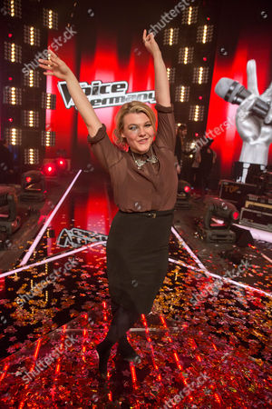 Stock Image of Charley Ann Schmutzler Reacts After Winning the Final of 'The Voice of Germany' in Berlin Germany 12 December 2014 Germany Berlin