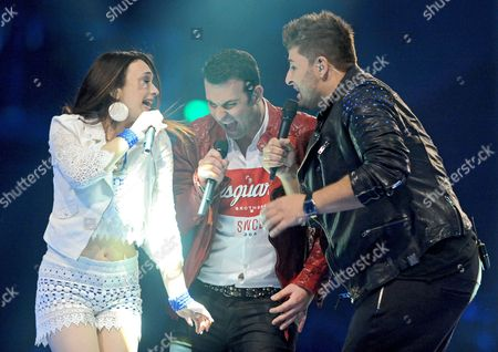 A Picture Made Available on 17 May 2015 of Casting Show Finalists Viviana Grisafi (l-r) Antonio Gerardi and Severino Seeger Performing on Stage at the Final of Pop Casting Show 'Deutschland Sucht Den Superstar' (dsds) the German Version of Pop Idol Franchise at Oevb Arena Venue in Bremen Germany 16 May 2015 Severino Seeger Won the 12th Season's Title Germany Bremen