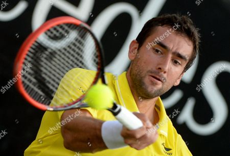 Marin Cilic of Croatia in Action Against Matthias Bachinger of Germany During Their Second Round Match For the Atp Tennis Tournament in Stuttgart Germany 11 June 2015 Germany Stuttgart