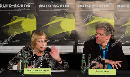 Stock Picture of Festival Director Ann-elisabeth Wolff (l) and Belgian Choreographer Alain Platel (r) Attend a Press Conference For the 'Euro-scene' Festival of Contemporary European Theatre in Leipzig ágermany 04 November 2014 the Cultural Event Takes Place From 04 to 09 November with 111 Artists From All Across Europe in 23 Performances and on Eight Stages Germany Leipzig
