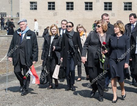 Anna Komorowska (2-r) Wife of the Polish President and Daniela Schadt (r) Life Partner of the German President Walk Across the Site of the Former Nazideath Camp at Ravensbrueck During the Memorial Event For the 70th Anniversary of the Camp's Liberation in Fuerstenberg Germany 19 April 2015 Around 160 Survivors From Around the World Have Returned to Brandenburg For the Anniversary of the Liberation Germany Fuerstenberg