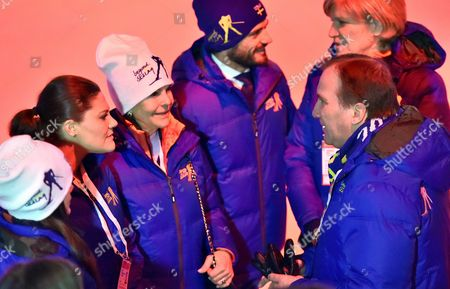Queen Silvia of Sweden (3rd L) Victoria Crown Princess of Sweden (2nd L) Prince Carl Philip Duke of Vaermland (c) and Stefan L÷fven (r) Prime Minister of Sweden Pictured During the Opening Ceremony of the Fis Nordic Skiing World Championships 2015 in Falun Sweden 18 February 2015 Sweden Falun