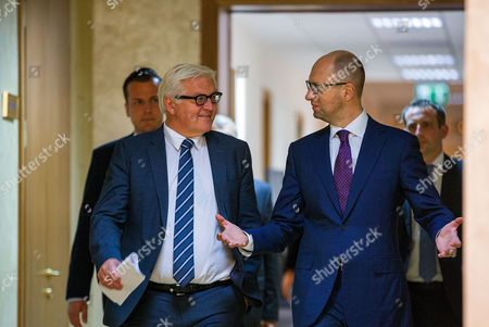 Stock Photo of German Foreign Minister Frank-walter Steinmeier (l) and Ukranian Prime Minister Arseni Jazenjuk Arrive For a Press Conference in Kiev Ukraine 29 May 2015 Russia Provoked the Violent Conflict in Eastern Ukraine Through a 'Course of Confrontation' German Foreign Minister Frank-walter Steinmeier was Reported As Saying in Kiev Ukraine Kiev