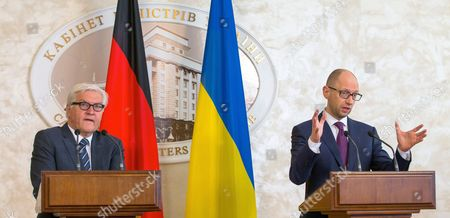 Ukranian Prime Minister Arseni Jazenjuk (r) Answer Journalists' Questions at a Press Conference with German Foreign Minister Frank-walter Steinmeier in Kiev Ukraine 29 May 2015 Russia Provoked the Violent Conflict in Eastern Ukraine Through a 'Course of Confrontation' German Foreign Minister Frank-walter Steinmeier was Reported As Saying in Kiev Ukraine Kiev