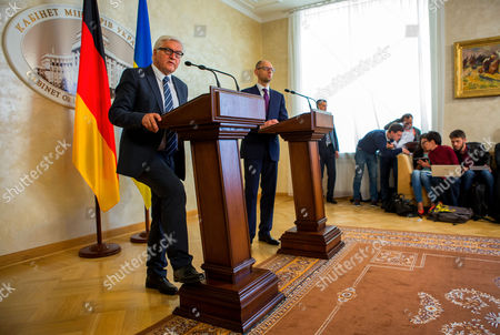 Stock Picture of German Foreign Minister Frank-walter Steinmeier (l) and Ukranian Prime Minister Arseni Jazenjuk Answer Journalists' Questions at a Press Conference in Kiev Ukraine 29 May 2015 Russia Provoked the Violent Conflict in Eastern Ukraine Through a 'Course of Confrontation' German Foreign Minister Frank-walter Steinmeier was Reported As Saying in Kiev Ukraine Kiev