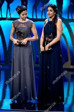 Syrian Swimmers Yusra Mardini (l) and Sarah Mardini (r) Receive Their Award in the 'Silent Heroes; Category at the 68th Bambi Award Media Awards Ceremony in Berlin Germany 17 November 2016 the Awards Are the Oldest Media Awards in Germany and Are Held Annually to Recognise Excellence in International Media and Television Germany Berlin