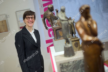 Stock Picture of Scottish Author a L Kennedy Poses During a Press Briefing Next to Figurines Depicting German Writer Henrich Heine in Duesseldorf Germany 09 December 2016 Kennedy is to Receive the Heinrich Heine Prize on 11 December 2016 the Literature Award is Presented Every Two Years and is Named After German Poet Christian Johann Heinrich Heine (1797-1856) Germany Duesseldorf