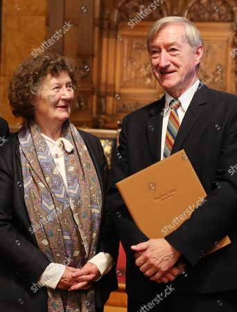 British Author Julian Barnes (r) and Ulla Reimer Widow of Siegfried Lenz Chatting During the Ceremony of the Siegfried Lenz Award at the City Hall in Hamburg Germany 11 November 2016 the Award Endowed with 50 000 Euro is Being Awarded Every Two Years Germany Hamburg