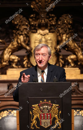 Stock Photo of British Author Julian Barnes Speaks During the Ceremony of the Siegfried Lenz Award at the City Hall in Hamburg Germany 11 November 2016 the Award Endowed with 50 000 Euro is Being Awarded Every Two Years Germany Hamburg