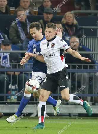 Schalke's Sascha Riether and Nice's Remi Walter (r) Compete For the Ball During the Europa League Football Match Between Fc Schalke 04 and Ogc Nice at the Veltins Arena in Gelsenkirchen Germany 24 November 2016 Germany Gelsenkirchen