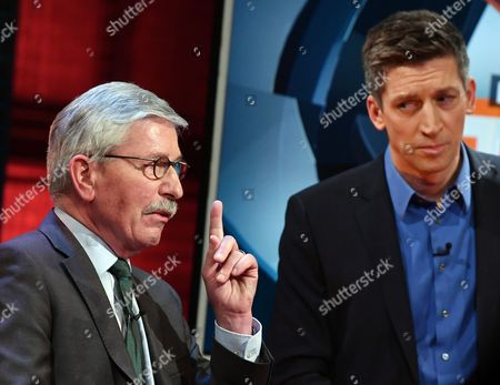 Former Politician and Author Thilo Sarrazin (l) and Host Steffen Hallaschka (r) Converse on the Rtl Talk Show 'Der Heiße Stuhl' (lit the Hot Seat' in Berlin Germany 12 December 2016 Germany Berlin
