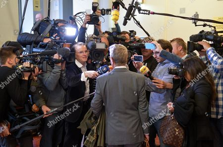 Michael-hubertus Von Sprenger Lawyer of Turkish President Erdogan is Surrounded by Reporters at the District Court in Hamburg Germany 02 November 2016 the Court is Engaged in a Hearing with the Turkish President's Injunction Suit Against the Satirist Boehmermann Germany Hamburg