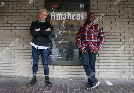 Stock Image of Lucian Msamati and Adam Gillen, left, the stars of the theatre play Amadeus, pose for a photograph in London, . Britain's National Theatre has a sold-out hit with a revival of Peter Shaffer's play about bad-boy genius Wolfgang Amadeus Mozart, played by Gillen, and his jealous rival Antonio Salieri, played by Msamati, composer to the 18th-century Viennese court