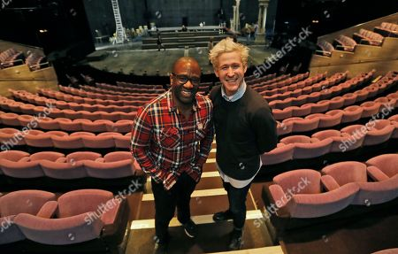 Stock Photo of Lucian Msamati and Adam Gillen, right, the stars of the theatre play Amadeus, pose for a photograph in London, . Britain's National Theatre has a sold-out hit with a revival of Peter Shaffer's play about bad-boy genius Wolfgang Amadeus Mozart, played by Gillen, and his jealous rival Antonio Salieri, played by Msamati, composer to the 18th-century Viennese court