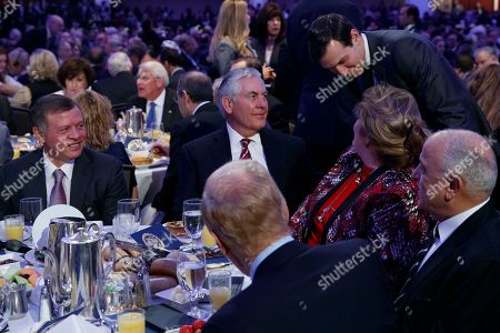 King Abdullah, Rex Tillerson, Renda St. Clair, Jared Kushner King Abdullah of Jordan, left, looks on as White House Senior Adviser Jared Kushner, right, talks with Secretary of State Rex Tillerson and his wife Renda St. Clair, during the National Prayer Breakfast, in Washington