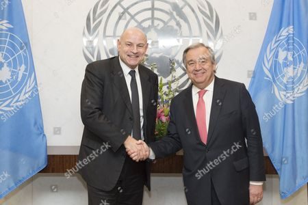 Secretary-General Antonio Guterres (right) meets with Jean-Marie Le Guen, Minister of State for Development and Francophonie, Republic of France