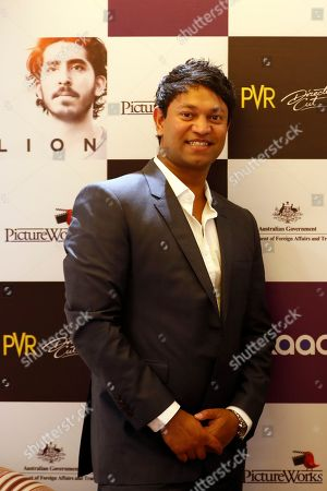 Indian-born Australian businessman Saroo Brierley poses during a press conference of the movie Lion in New Delhi, India, . The Australian film is based on the non-fiction book A Long Way Home, an autobiographical account of Saroo Brierley who reunited with his birth mother 25 years later