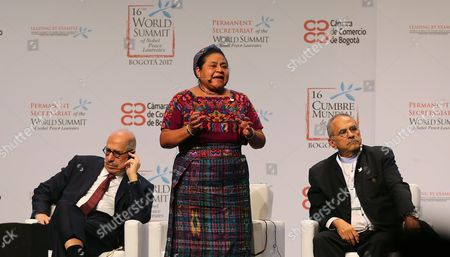 Stock Picture of Rigoberta Menchú, Jose Ramos-Horta and Mohamed ElBaradei