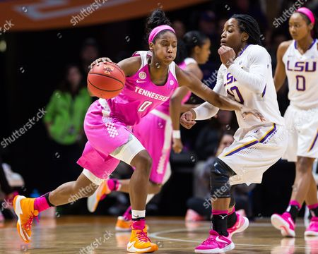 Jordan Reynolds #0 of the Tennessee Lady Volunteers drives to the basket against Jasmine Rhodes #10 of the LSU Tigers during the NCAA basketball game between the University of Tennessee Lady Volunteers and the Louisiana State University Lady Tigers at Thompson Boling Arena in Knoxville TN Tim Gangloff/CSM