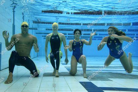 Speedo Introduces the Australian Olympic Team Swim Suit (l-r) Geoff Huegill Alice Mills Loudy Tourky and Nikita Cuffe in Brisbane Australia Sunday 25 July 2004 Australia Brisbane