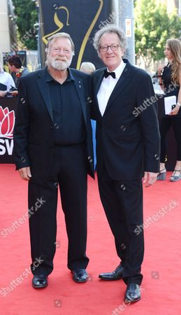 Australian Actors Jack Thompson and Geoffrey Rush (r) Arrive For the Aacta (australian Academy Cinema Television Arts) Awards at the Star Casino in Sydney Australia 30 January 2013 Australia Sydney