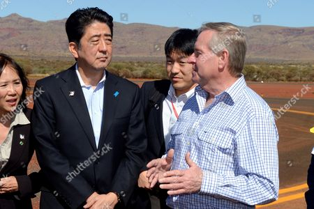 Stock Photo of Prime Minister of Japan Shinzo Abe and Western Australian Premier Colin Barnett (right) Arrive For a Tour of the Rio Tinto Iron Ore Mine in the Pilbara West Australia July 9 2014 As Abe Continues His Visit to the Country Australia Canberra