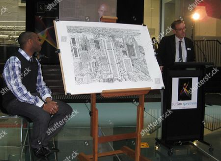 Autistic British Artist Stephen Wiltshire (l) with His Sketch of Sydney's Skyline and Dr Trevor Clark (r) From Austism Spectrum Australia Attend the Unveiling of the Artwork at Customs House Circular Quay in Sydney Australia 30 April 2010 Twenty Minutes of Observation was All the British Artist Needed Before Intricately Sketching Sydney's Skyline Entirely From Memory Australia Sydney