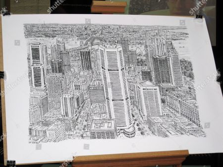 Stock Photo of A Sketch of Sydney's Skyline by Autistic British Artist Stephen Wiltshire is Unveiled at Customs House Circular Quay in Sydney Australia 30 April 2010 Twenty Minutes of Observation was All the British Artist Needed Before Intricately Sketching Sydney's Skyline Entirely From Memory Australia Sydney