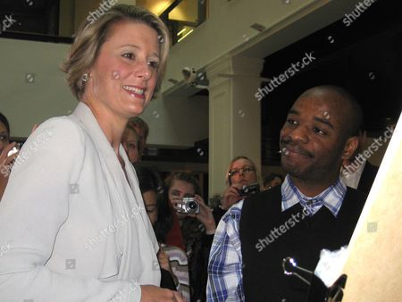 Autistic British Artist Stephen Wiltshire (r) with Nsw Premier Kristina Keneally (l) Attend the Unveiling of the Artwork at Customs House Circular Quay in Sydney Australia 30 April 2010 Twenty Minutes of Observation was All the British Artist Needed Before Intricately Sketching Sydney's Skyline Entirely From Memory Australia Sydney