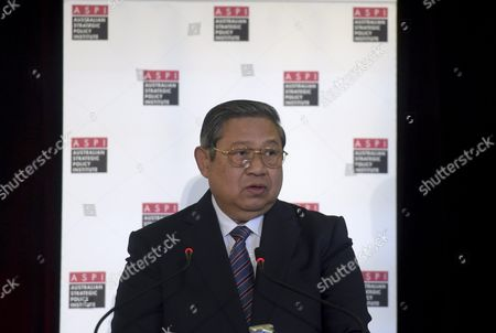 Former Indonesian President Susilo Bambang Yudhoyono Delivers a Keynote Speech at the Australian Strategic Policy Institute (aspi) Defence White Paper Conference in Canberra Australia 08 April 2016 Yudhoyono is in Canberra to Boost Relationships Between Indonesia and Australia Australia Canberra