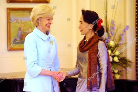 Stock Photo of Australian Governor General Quentin Bryce (l) Greets Myanmar Opposition Leader Aung San Suu Kyi at Government House in Canberra Australia 29 November 2013 Suu Kyi is Currently on a Five Day First-ever Trip to Australia Australia Canberra