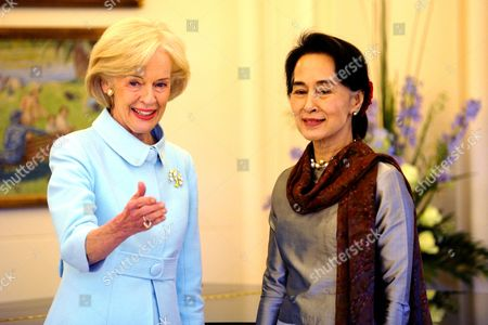 Stock Picture of Australian Governor General Quentin Bryce (l) Greets Myanmar Opposition Leader Aung San Suu Kyi at Government House in Canberra Australia 29 November 2013 Suu Kyi is Currently on a Five Day First-ever Trip to Australia Australia Canberra