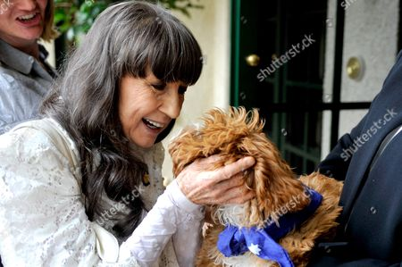 Australian Singer Judith Durham Pats Australian Prime Minister Julia Gillard's Dog Reuben During a Reception For Australian of the Year Finalists Morning Tea Reception in Canberra Australia 25 January 2012 Rush is the Victoria Australian of the Year Finalist in the 2012 Australian of the Year Awards That Will Be Announced Later That Same Day Australia Canberra