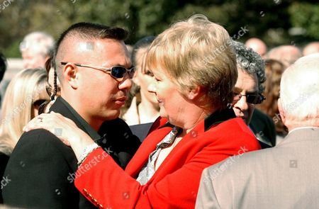 Champion Boxer Kostya Tszu Passes on His Comiserations to Gwenda Bradford Bill Mordey's Partner at the Funeral Service For Bill Mordey at St Mary's Cathederal Friday 30 April 2004 Other Mourners Included Jeff Fenech Danny Greene John Raper John Brady and Ken Callander Australia Sydney