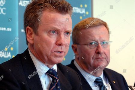 Chairman of the British Olympic Association Lord Colin Moynihan (left) and Australian Olympic Committee President John Coates (right) Sign a Co-operation Agreement at the Aoc Offices in Sydney Monday Jan 15 2007 Under the Agreement Australian Athletes Will Be Invited to Train and Compete in Britain in the Lead Up to the 2012 Olympic Games in London Australia Sydney