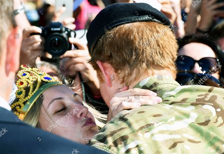 Prince Harry of Wales (r) Receives a Kiss From a Member of the Public During a Visit to the Sydney Opera House in Sydney Australia 07 May 2015 Prince Harry Also Known As 'Captain Wales' Has Officially Finished Official Duties in Australia After a Month-long Secondment with the Australian Army Australia Sydney
