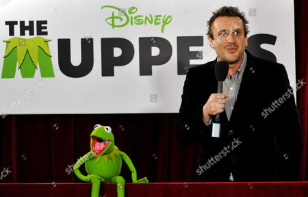Kermit the Frog and Us Actor Jason Segal at the Australian Film Premiere of Disney's 'The Muppets' in Sydney Australia 21 December 2011 Australia Sydney
