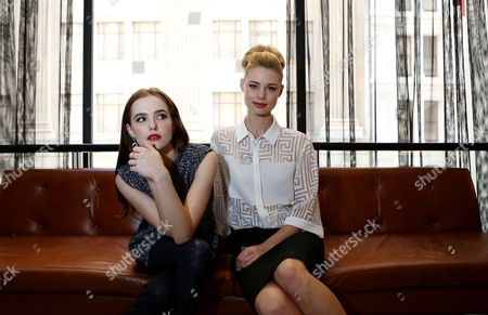 Stock Image of Australian Actress Lucy Fry (r) and Us Actress Zoe Deutch (l) Pose For a Photograph in Sydney Australia 20 February 2014 the Pair Are in Sydney to Promote Fantasy Adventure Movie 'Vampire Academy ' Australia Sydney