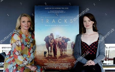 Australian Actress Mia Wasikowska (r) and Australian Writer Robyn Davidson (l) Pose For Photographs Ahead of the Launch of Their Movie Adaptation of Davidson's Book 'Tracks' in Sydney New South Wales Australia 10 January 2014 Australia Sydney