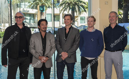 British Actor Colin Firth (c) Japanese Actor Hiroyuki Sanada (2-l) Australian Actor Sam Reid (2-r) Pose with Producer Chris Brown (l) and Producer/co-screenwriter Andy Paterson (r) at a Photocall For the Film 'The Railyway Man at the Palazzo Versace Main Beach Gold Coast Australia 19 June 2012 'The Railway Man' is a Film Adaptation of Eric Lomax's Best-selling Book of the Same Name and Will Be Shot in Queensland Australia Over the Next Three Weeks Australia Gold Coast