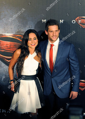 Australian Actor Daniel Ewing (r) and Partner Marni Little (l) Pose During the 'Man of Steel' Premiere in Sydney Australia 24 June 2013 Australia Sydney