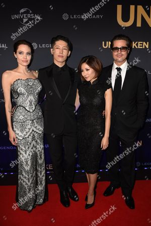 Us Actress-director Angelina Jolie (l) Her Husband Us Actor Brad Pitt (r) Japanese Actor Miyavi (2-l) and His Partner Melody Ishihara Pose at the World Premiere of 'Unbroken' in Sydney Australia 17 November 2014 Unbroken is the Second Film Which Jolie Has Directed Australia Sydney