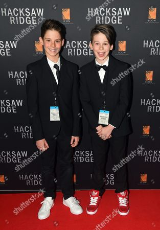 Stock Image of Actors and Cast Members Roman Guerriero (l) and Darcy Bryce Arrive For the Australian Premiere of Hacksaw Ridge in Sydney New South Wales Australia 16 October 2016 the Movie Opens in Australian Cinemas on 03 November Australia Sydney