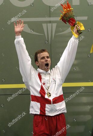 England's Peter Nicol Celebrates His Gold Medal Win at the Men's Singles Squash Event at the Commonwealth Games in Melbourne Monday March 20 2006 Australia Melbourne