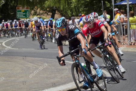 Australian Rider Christopher Sutton (front) of the Sky Procycling Team and His Norwegian Teammate Edvald Boasson Hagen (r) Ride Through the Aldgate Roundabout During the Third Stage of the Tour Down Under Cycling Race Over 139km From Unley to Stirling Australia 24 January 2013 Australia Adelaide