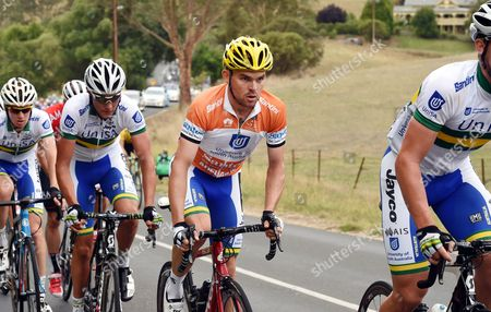 Australian Rider Jack Bobridge (c) of Team Uni Sa in Action During the Second Stage of the Tour Down Under Cycling Race in the Barossa Valley Near Adelaide Australia 21 January 2015 Bobridge Retained the Overall Leader's Ochre Jersey Australia Adelaide