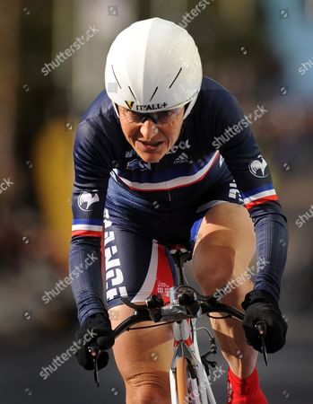 Jeannie Longo-ciprelli of France Crosses the Finish Line to Finish in 5th Position in the Women's Elite Time Trials on the First Day of the 2010 Uci Road World Championships in Geelong Australia 29 September 2010 Australia Melbourne