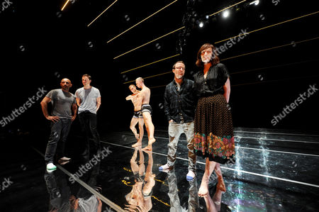Sydney Dance Company Artistic Director Rafael Bonachela (l) Designer Dion Lee (2-l) Sydney Dance Company Dancers and Composer Nick Wales (2-r) and Singer/songwriter Sarah Blasko (r) on Stage During the De Novo Dress Rehearsal at the Sydney Theatre in Sydney Australia 28 February 2013 De Novo Opens at Sydney Theatre on 01 March Australia Sydney