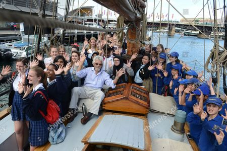 A Picture Made Available on 21 September 2013 Shows Japanese Canadian Environmentalist Dr David Suzuki (c-l) On-board the Danish Tall Ship Yukon at Darling Harbour Sydney Australia 20 September 2013 Dr Suzuki Will Be the Key Note Speaker at Ecoxpo This Weekend Australia Sydney